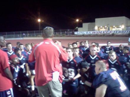 Riverside King coach Kevin Corridan addresses his team following their 30-13 victory over Norte Vista on Friday, Aug. 31. / Dennis Pope Photography