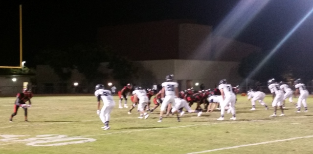 Riverside Norte Vista (black and red) totaled 320 rushing yards vs. Lake Arrowhead Rim of the World in Week 1.