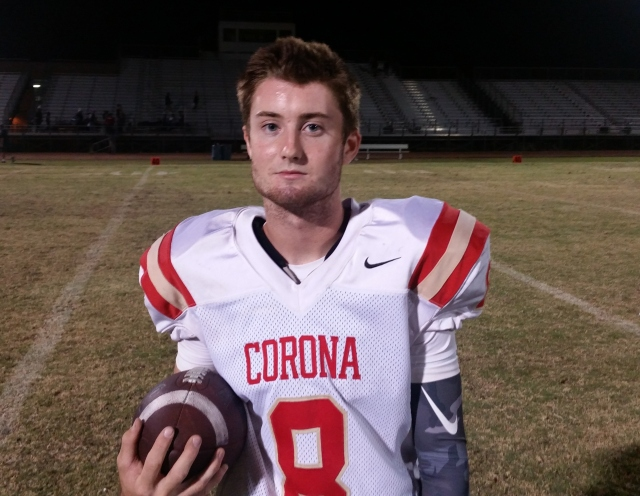 Corona senior Jake Sparks is completing 73.3 percent of his pass attempts (63 for 86) this season. / Photo by DENNIS POPE