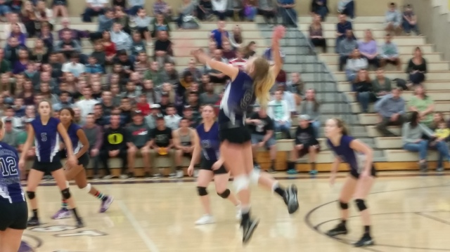 Woodcrest Christian junior Tesa Oaks rises to the ball vs. Templeton in a CIF-SS Division 3A semifinal on Tuesday, Nov. 17, 2015.