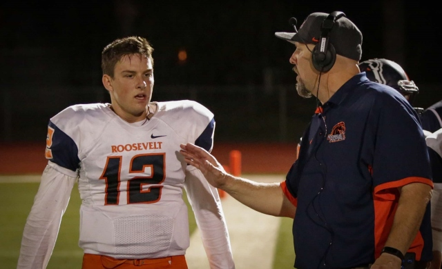 Eastvale Roosevelt senior QB Andrew LaBruna (left) and head coach Tony Barile finished the '15 regular season with a 27-24 win. / Photo for RooseveltFootball.net