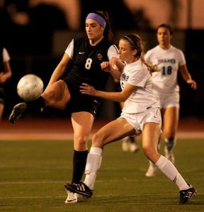 Corona Santiago's three-year captain, midfielder Emily Gehlbach (right), returns for her fourth varsity season. / PHOTO for the Ventura County Star