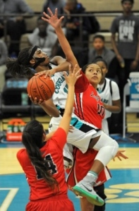 MoVal Canyon Springs' Sharonda Edwards (with ball) is the Inland Valley League's best wing player.